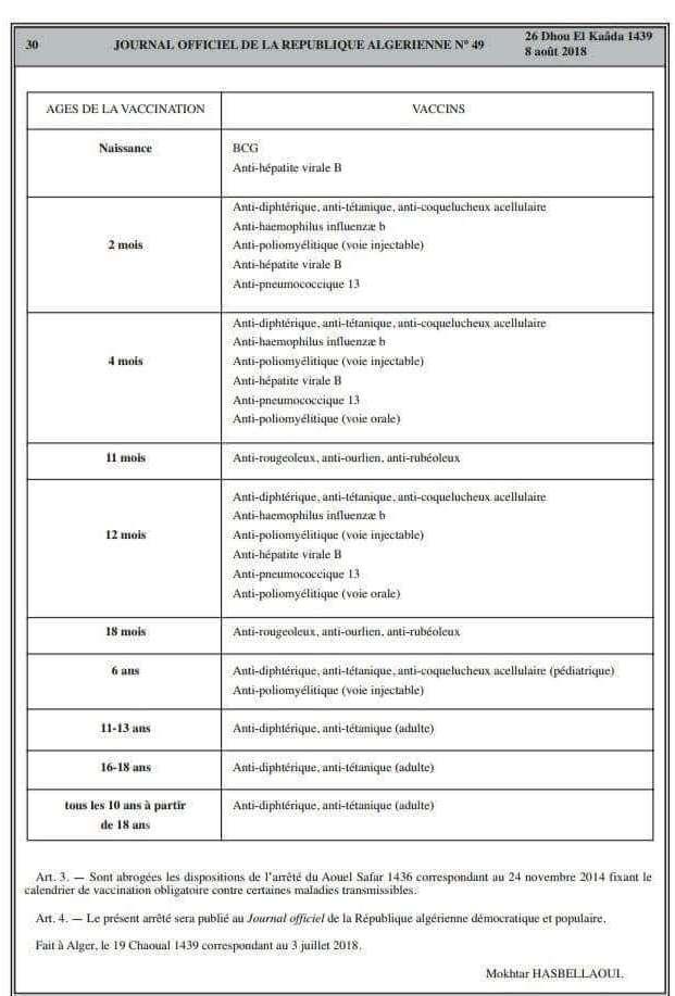 Nouveau Calendrier Vaccinal 2019.Nouveau Calendrier Vaccinal Algerien Blocnotes Sante Dz