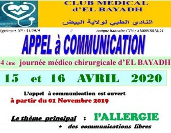 4 ème journée médico-chirurgicale d'El Bayadh- Les 15 et 16 Avril 2020