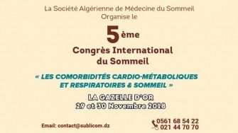 5ème Congrès National du Sommeil - 29 et 30 Novembre 2018 à El Oued