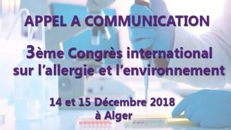Appel à communication : 3ème Congrès international sur l'allergie et l'environnement les 14 et 15 Décembre 2018 à Alger