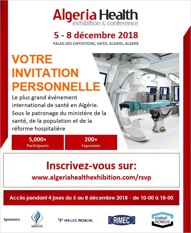 Algeria Health 2018 - 05 au 08 décembre 2018 à Alger