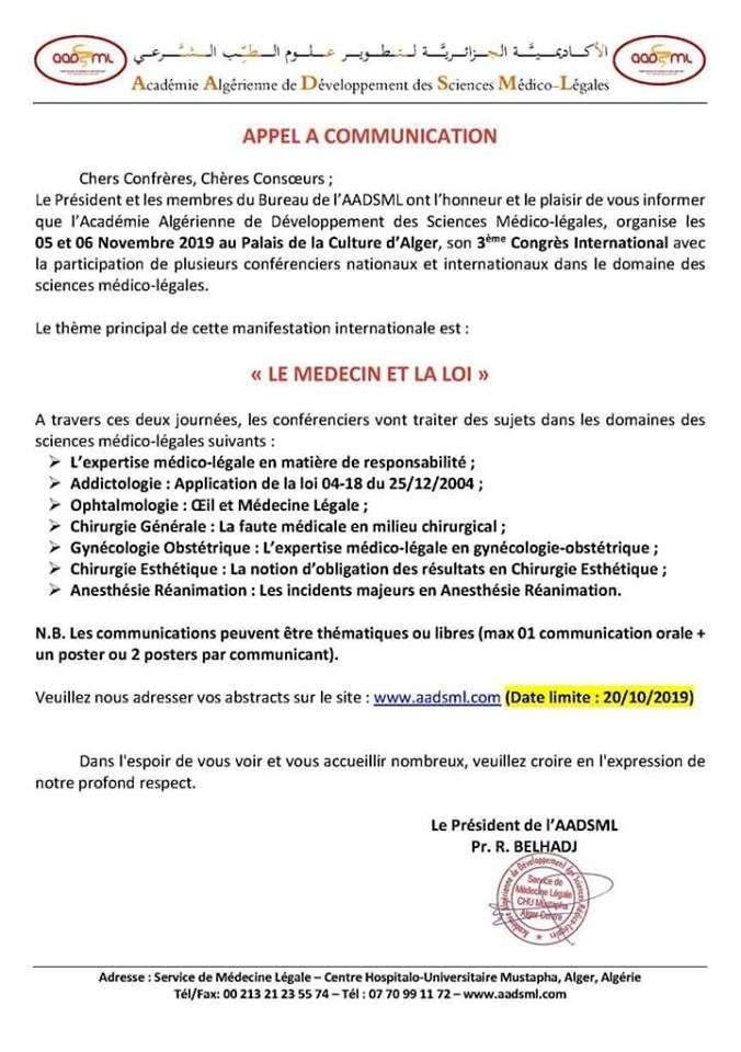 Le 3ème Congrès International-le médecin et la loi-Les 05 et 06 Novembre 2019 au Palais de la Culture MOUFDI ZAKARIA - Alger