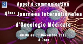 Appel à communication : 4èmes journées internationales d'oncologie médicale - 06 au 08 Décembre 2018 à Oran
