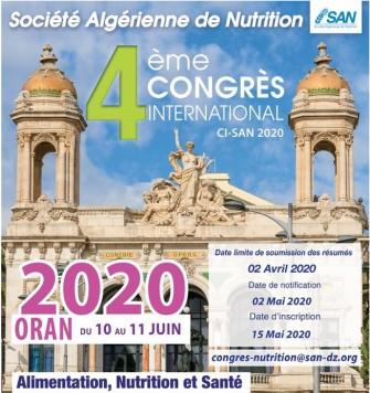 4ème Congrès International CI-SAN-du 10 au 11 juin 2020, Oran
